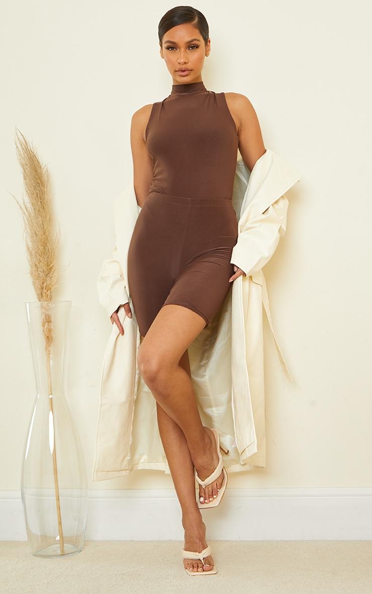 Dark Brown Slinky High Neck Sleeveless Bodysuit 3