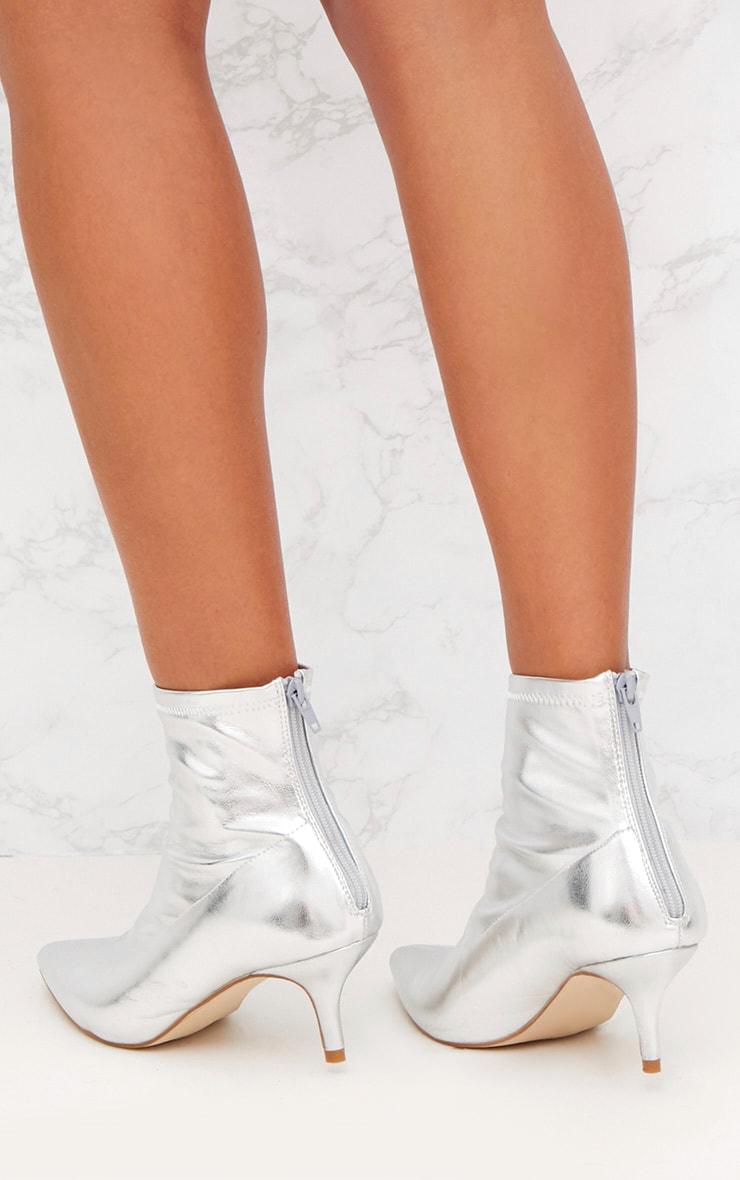 Silver Low Heel Pointed Ankle Boots 3