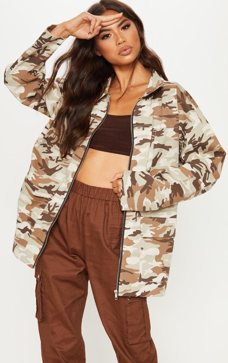 Veste utilitaire oversized à imprimé camouflage
