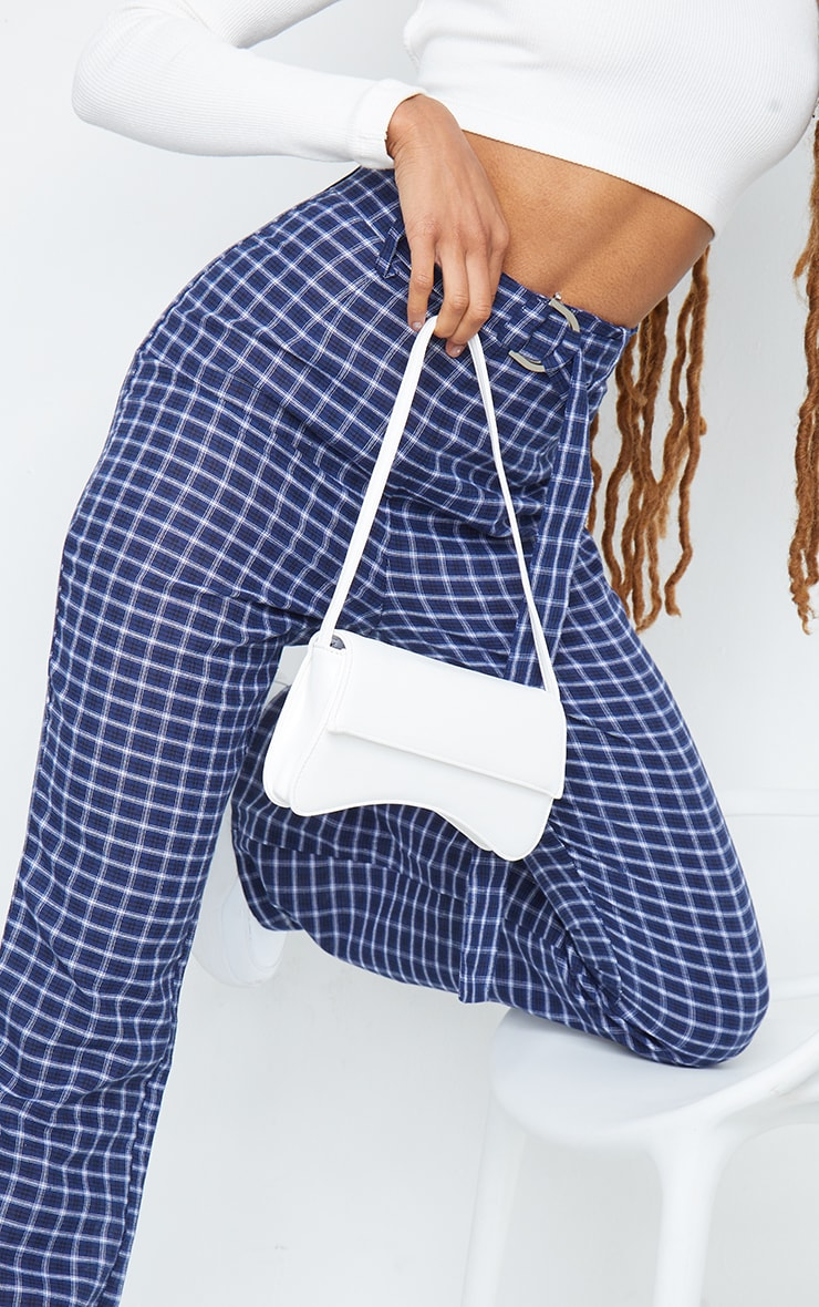 Blue Check Woven Belted Flared Trousers 4