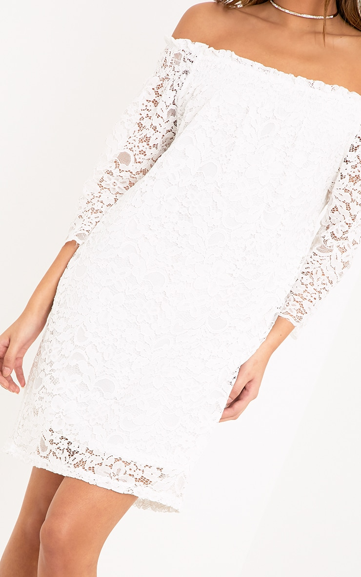 Cora White Lace Bardot Shift Dress 5