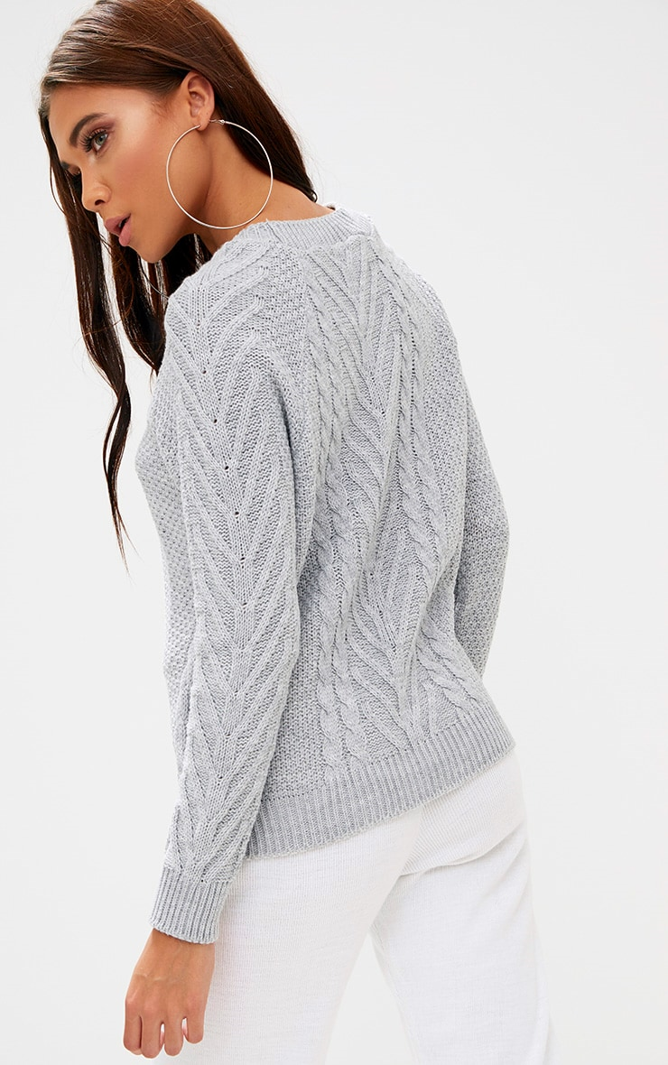 Grey Cable Knit Jumper 2