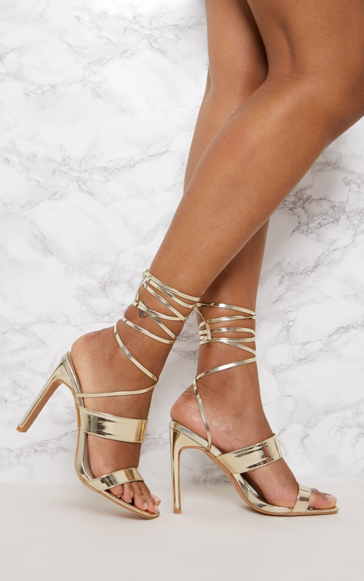 Gold Patent Ankle Lace Up Mule Heel 1