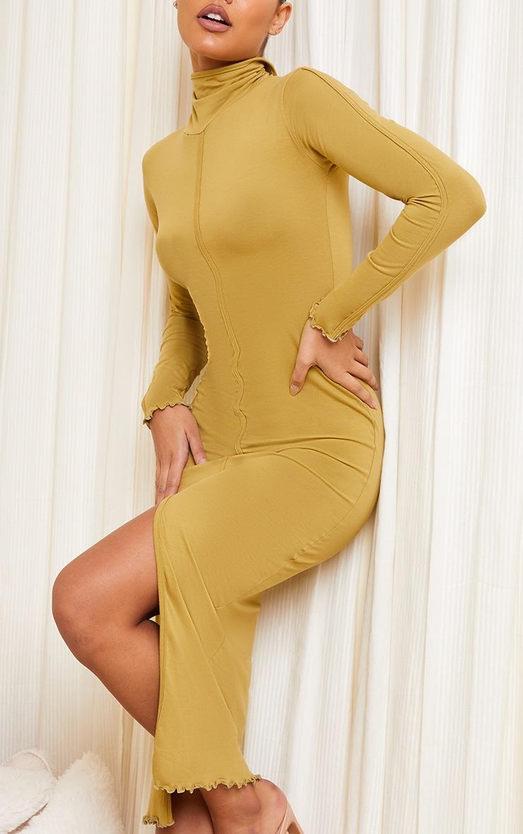 Olive Cotton Split Front Lettuce Hem Midaxi Dress 4