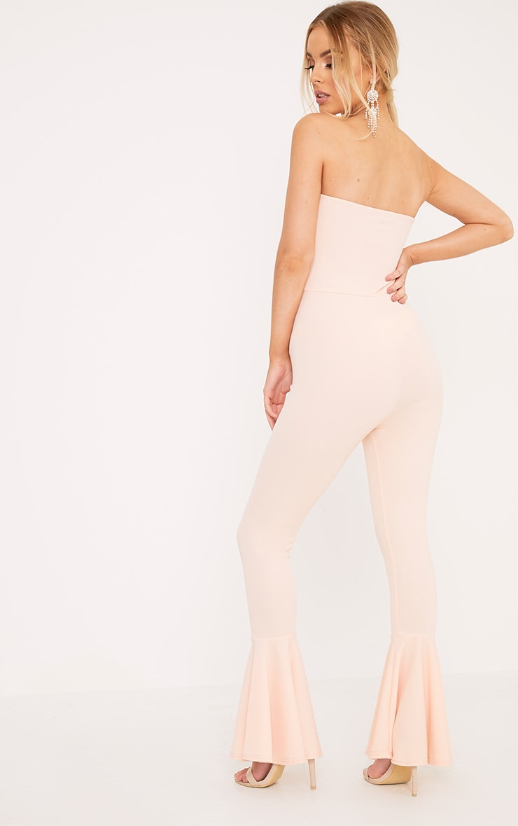 Livvy Nude Extreme Frill Flare Cropped Jumpsuit  2