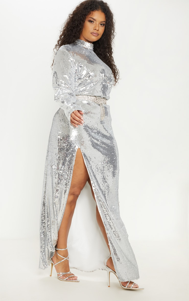 Plus Silver Sequin Backless Maxi Dress 4