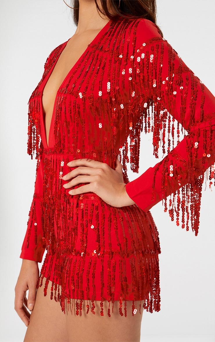 Red Tassel Sequin Long Sleeve Playsuit 5