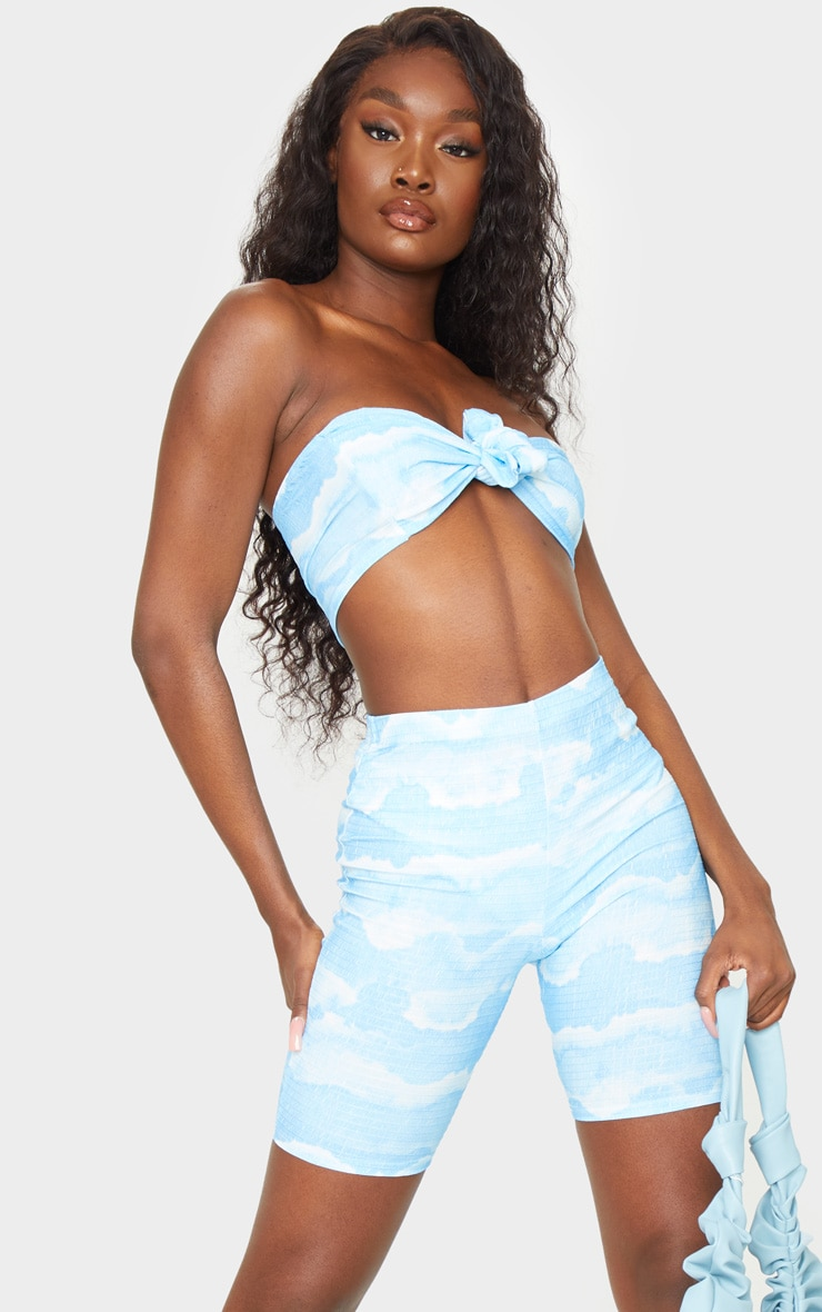 Tall Blue Tie Dye Cycle Crinkle Shorts 1
