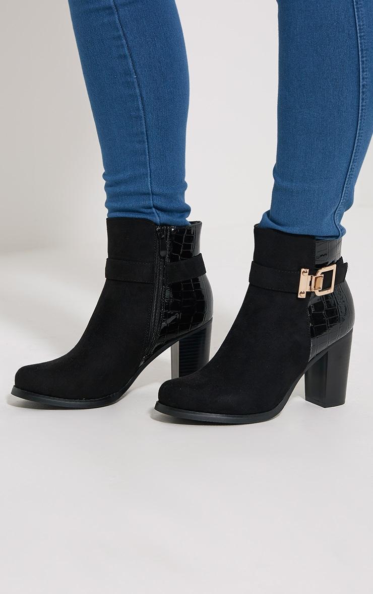 Monica Black Croc Suede Buckle Heel Boots 1