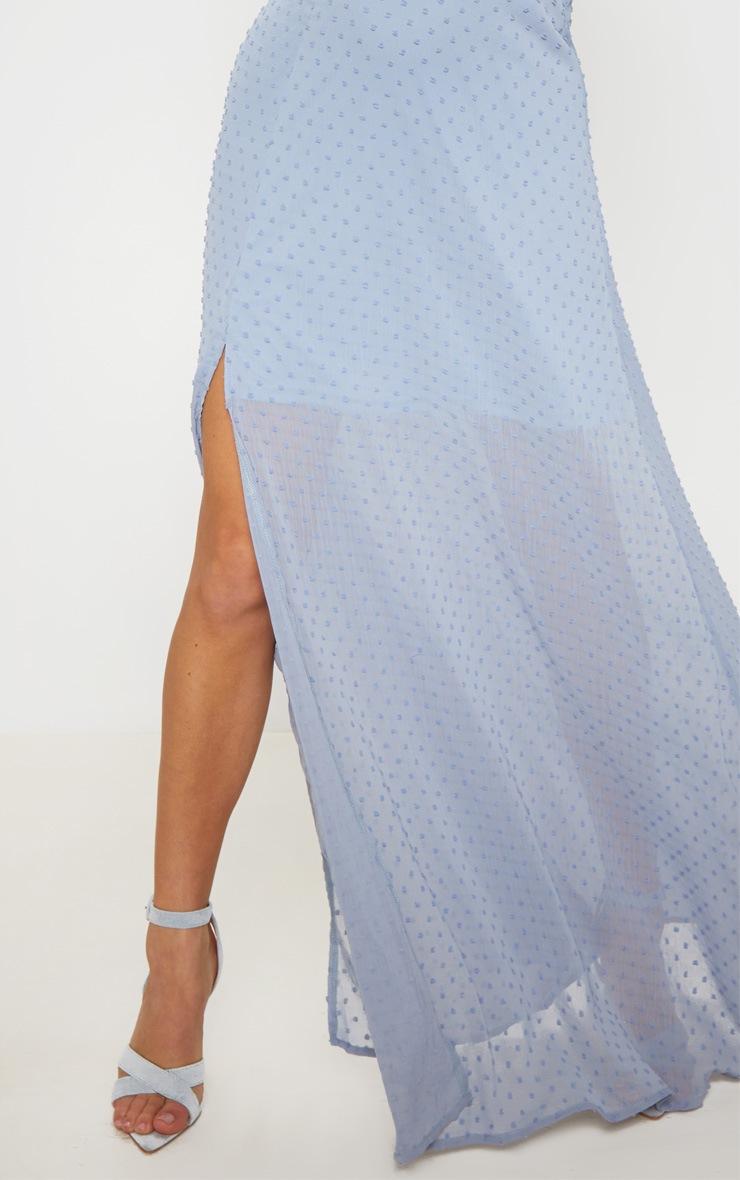 Blue Dobby Mesh Plunge Long Sleeve Maxi Dress 5