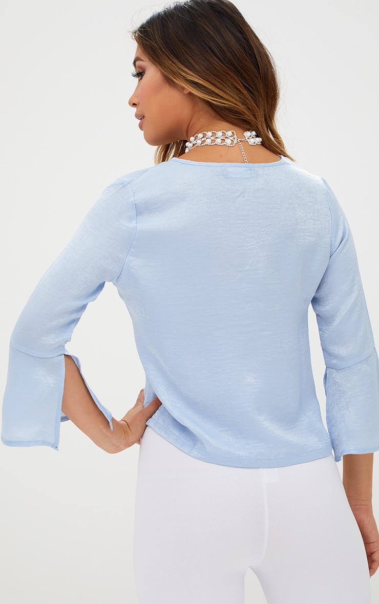 Pale Blue Ruched Front Frill Sleeve Silk Top  2