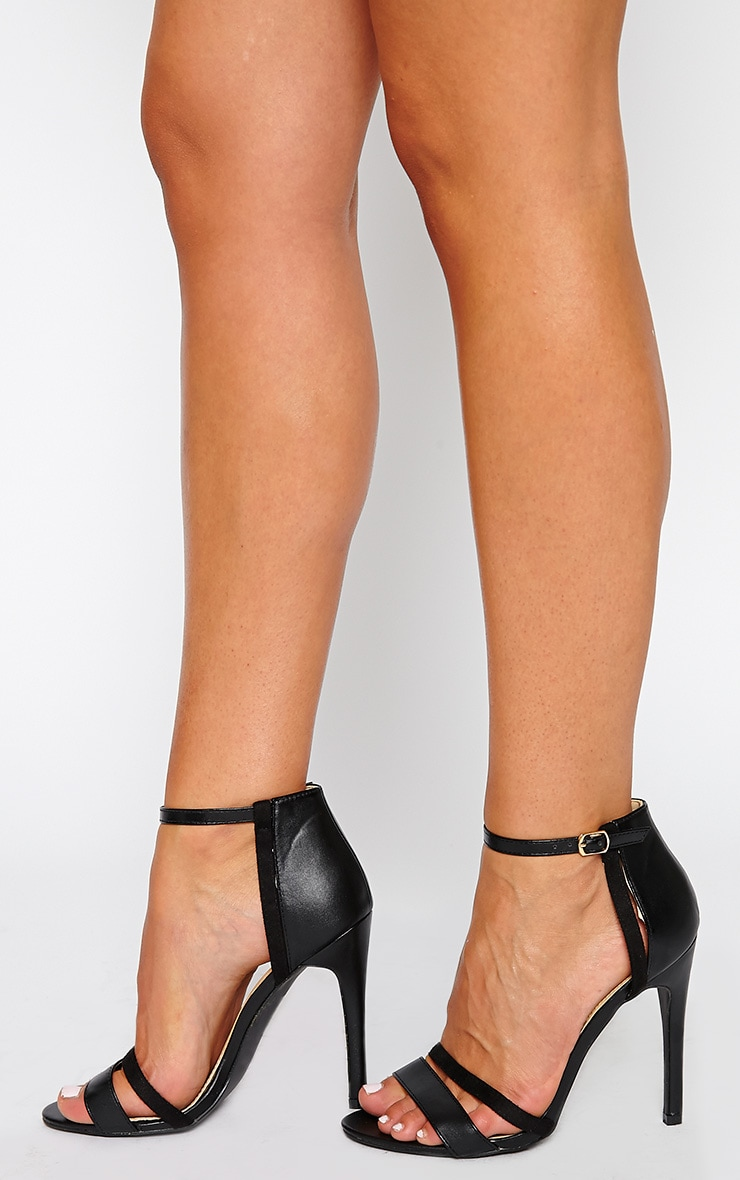 Cassia Black Strap Heeled Sandals 2