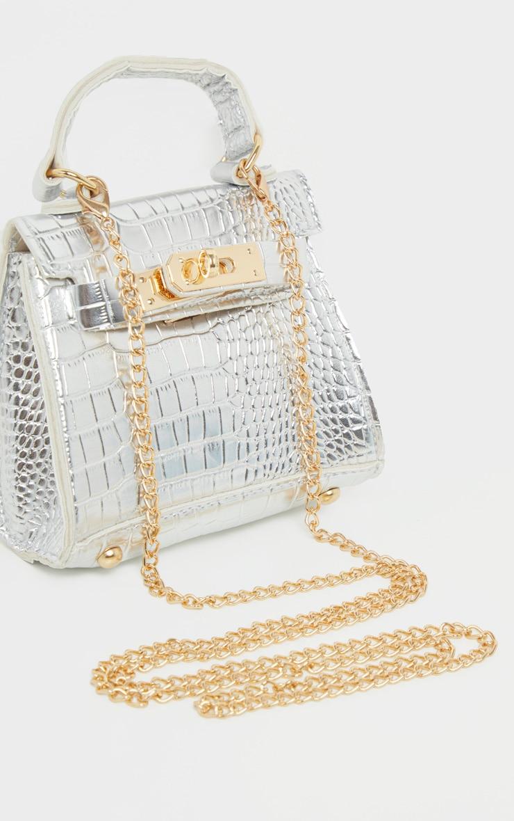 Silver Croc Mini Micro Bag 1