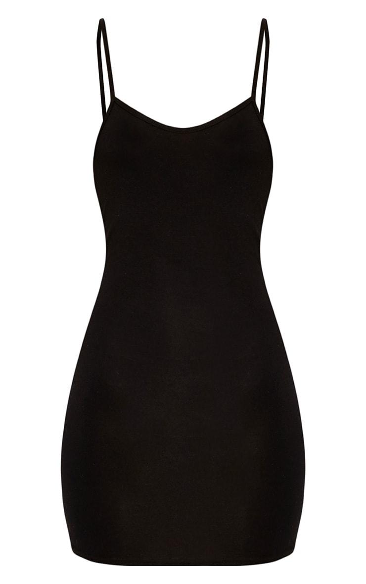 Basic Black Strappy Bodycon Dress 3