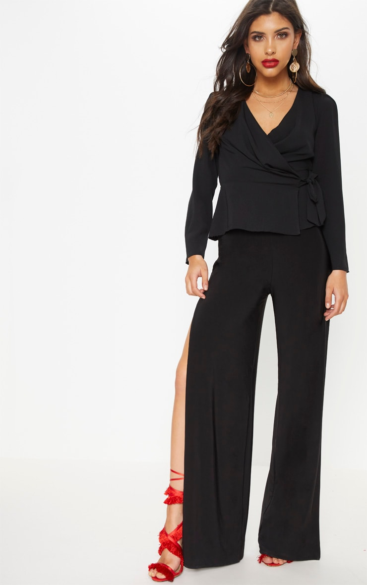 Black Draped Side Tie Blouse Tops Prettylittlething