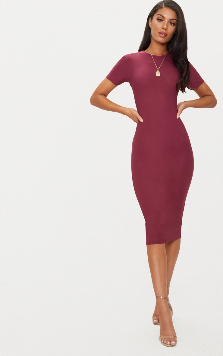 Burgundy Cap Sleeve Midi Dress  1