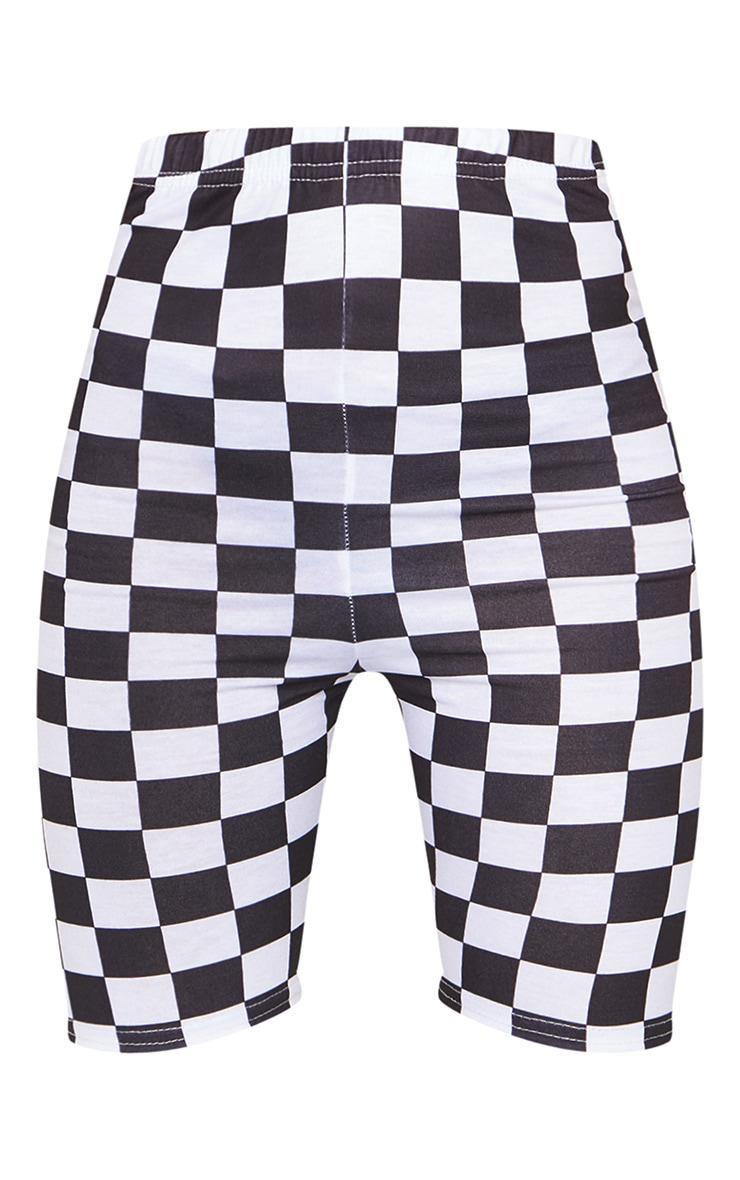 Monochrome Checkerboard Bike Shorts 6