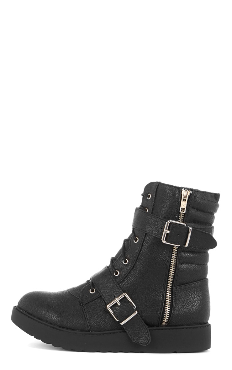 Aby Black Double Buckle Biker Boot  1