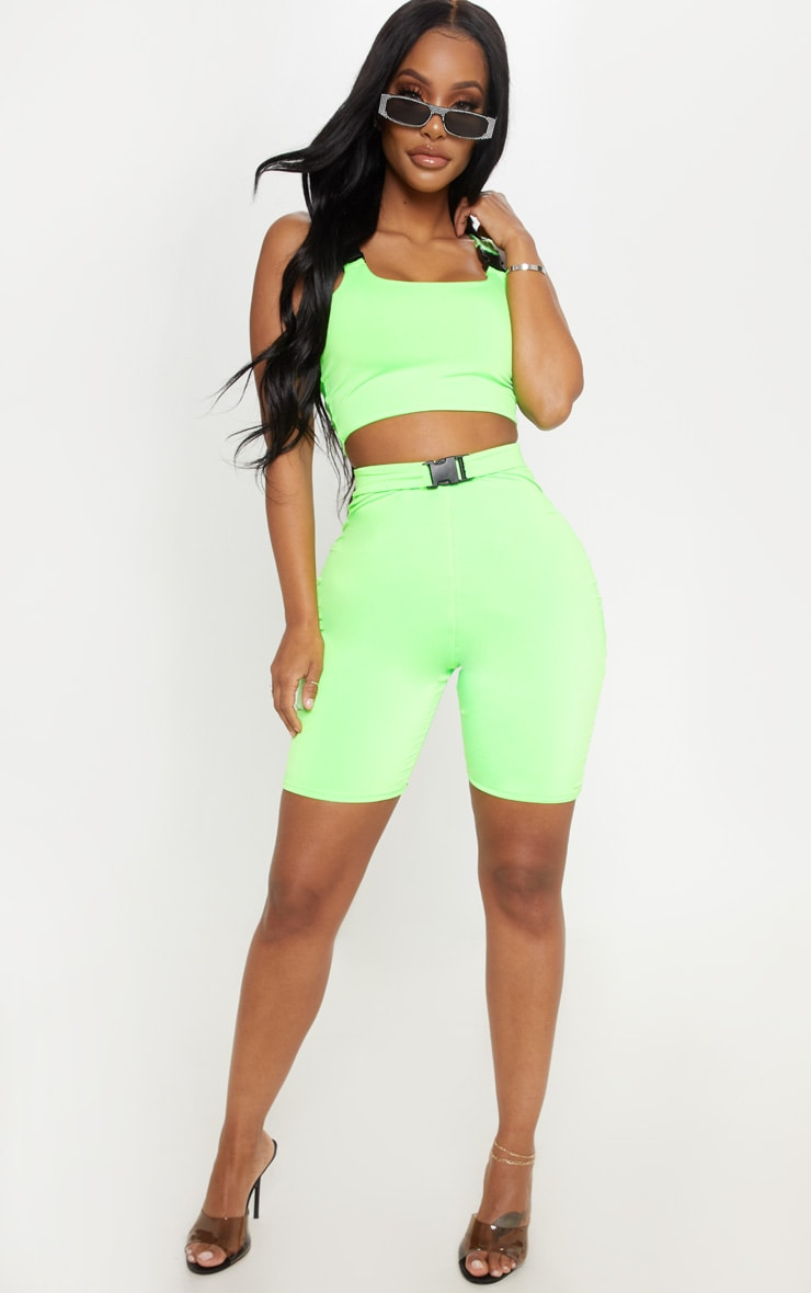 Shape Neon Lime Buckle Detail Bike Short 5