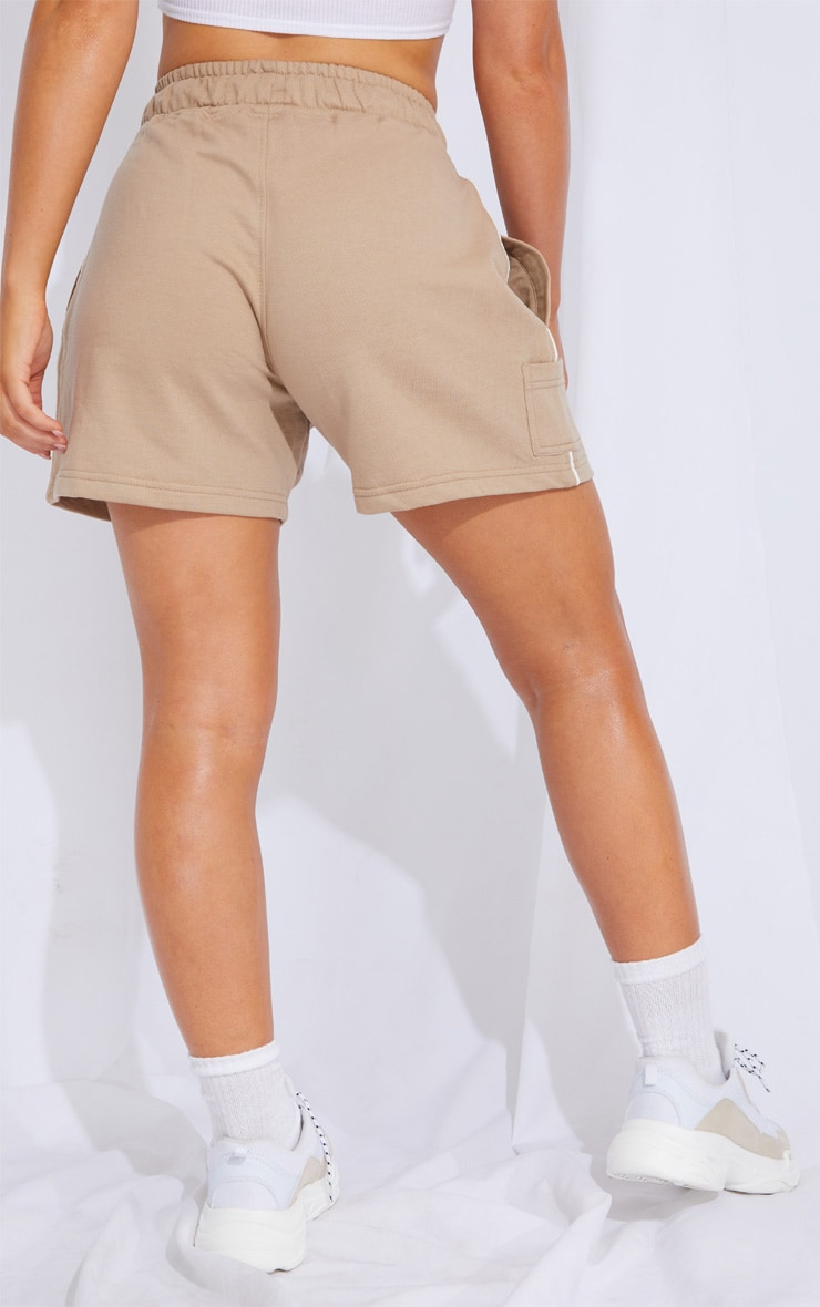 Taupe Toggle Detail Side Stripe Runner Shorts 3