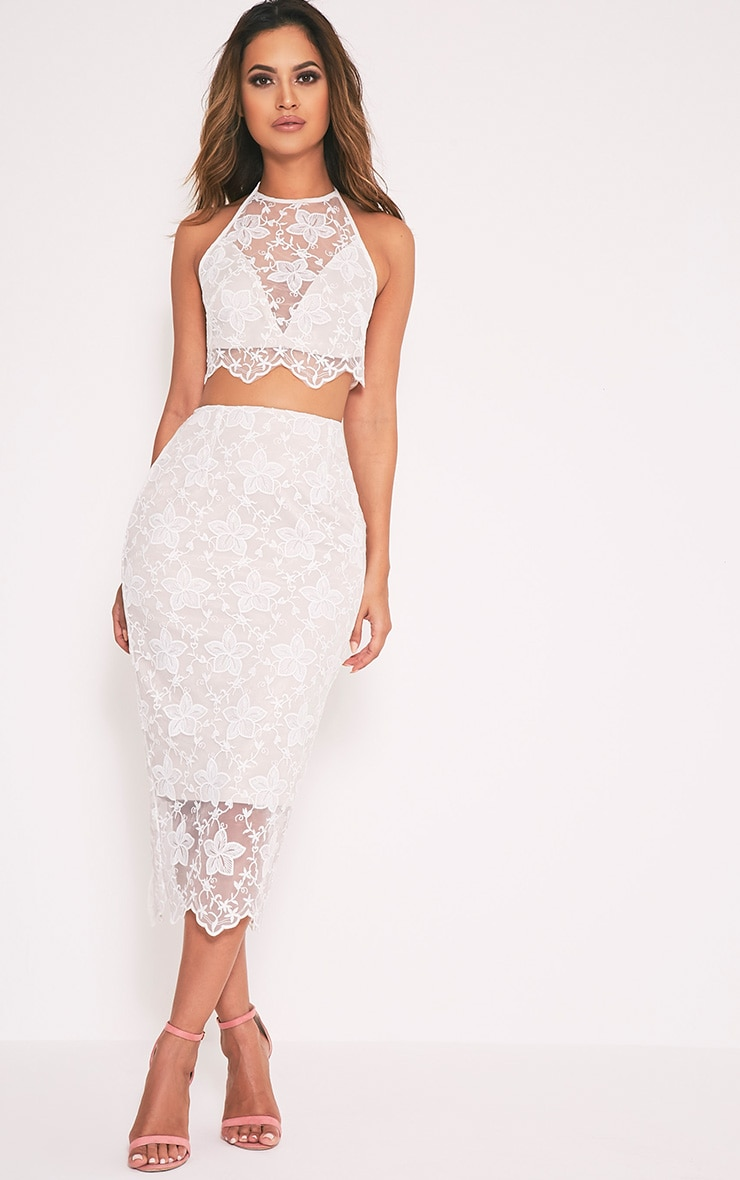 Nikola White Lace Midi Skirt 1