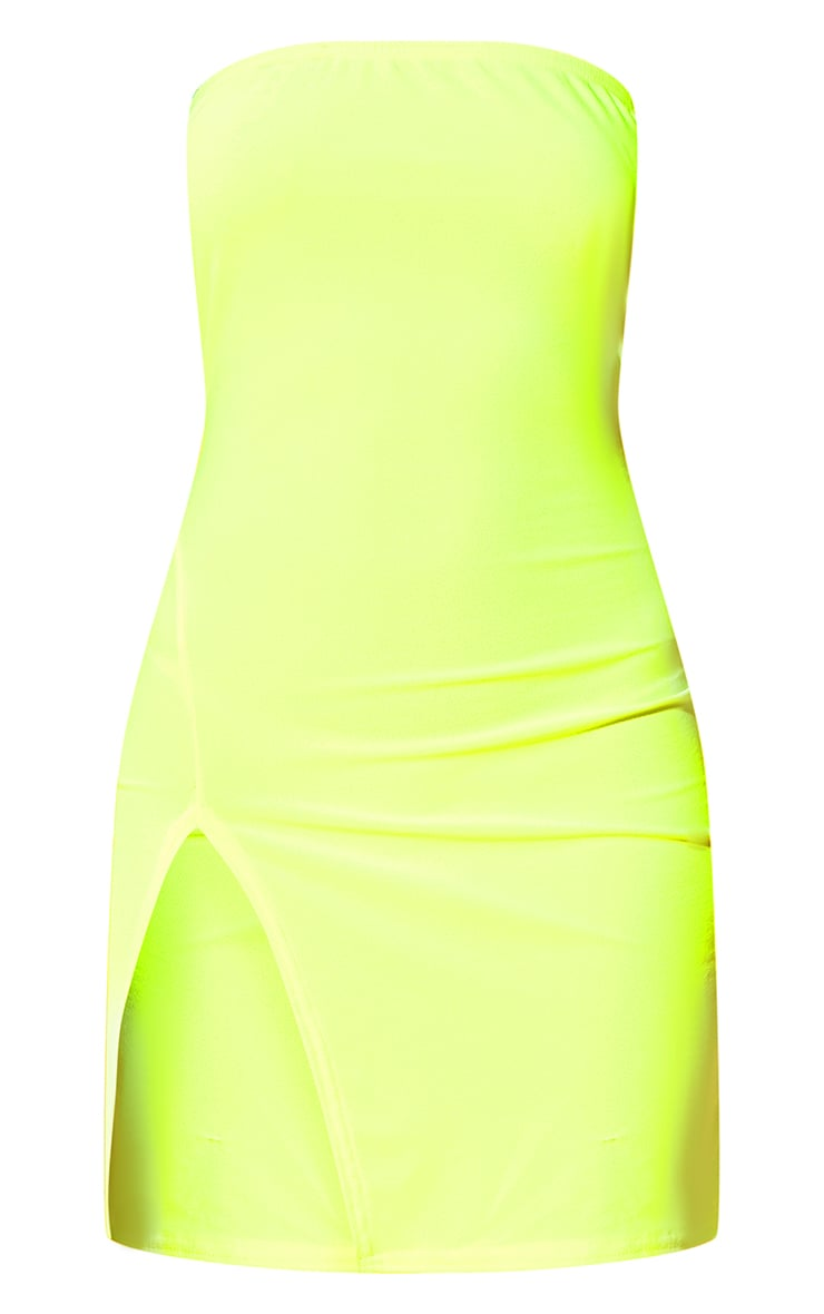 Neon Yellow Extreme Split Bodycon Dress 3
