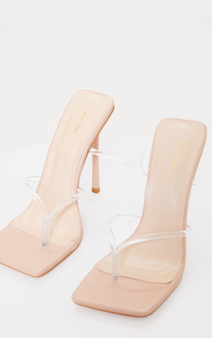 Nude Square Toe Clear Lace Up Toe Thong Heels 3