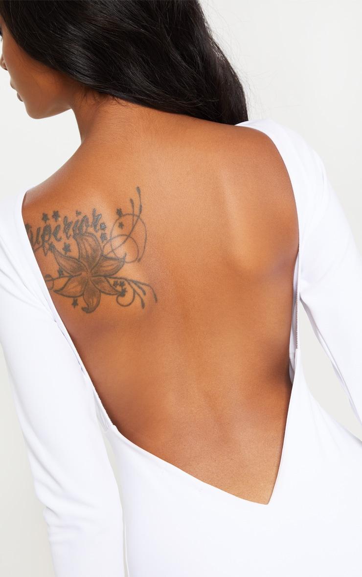 White Long Sleeve Open Back Bodycon Dress 5