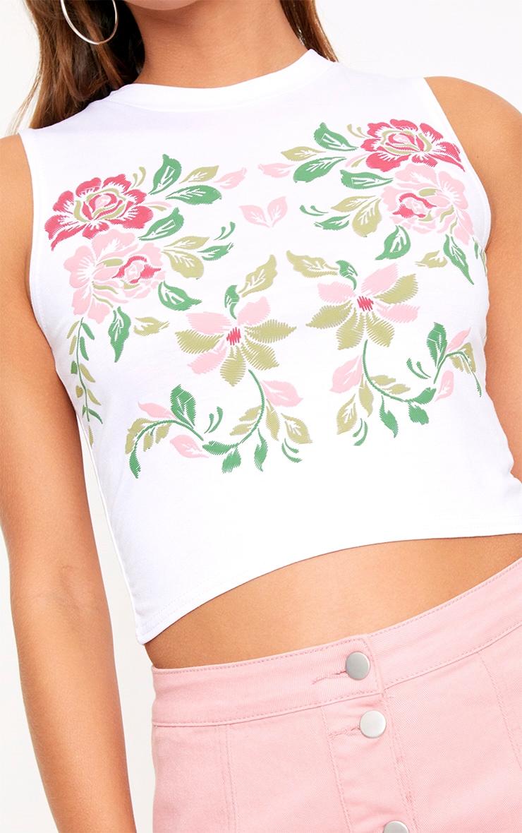 White Floral Puff Print Crop Top  5