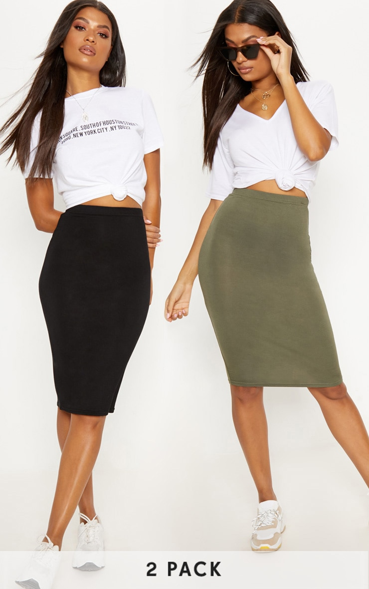 Basic Black & Khaki Jersey Midi Skirt 2 Pack 1