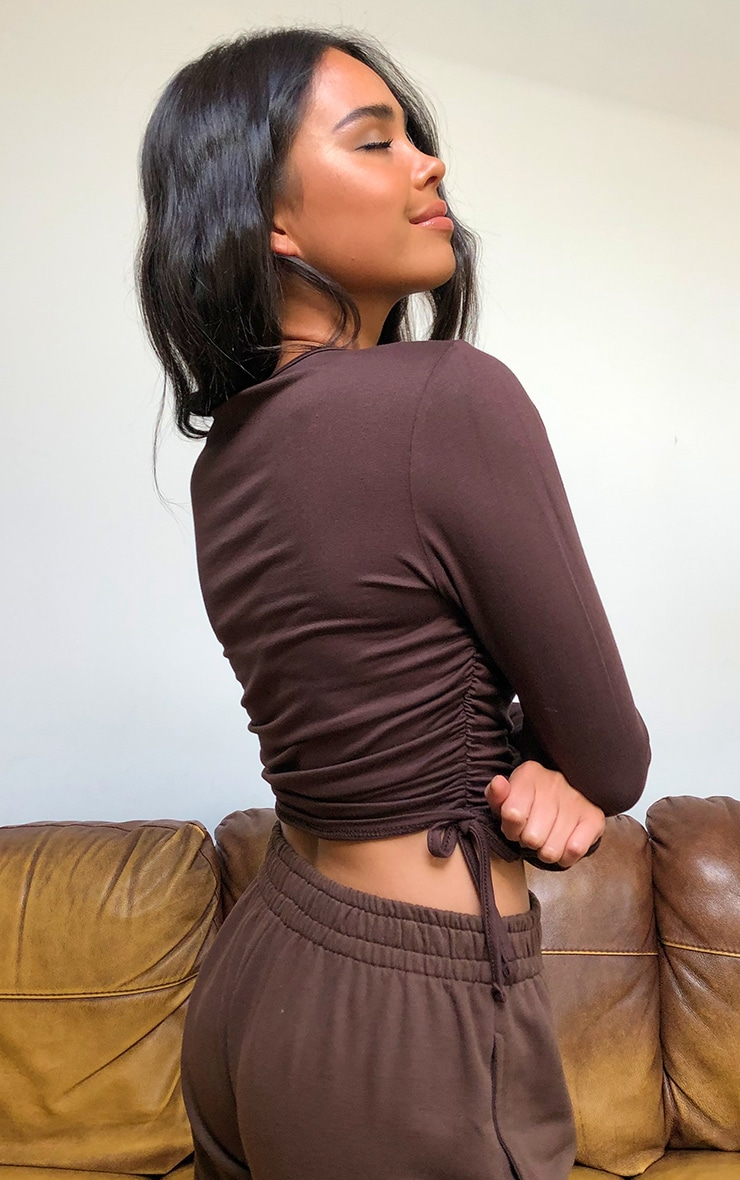 Chocolate Jersey Ruched Side Long Sleeve Crop Top 2