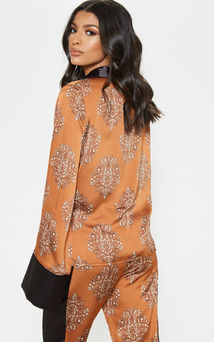 Rust Satin Paisley Print Contrast Blouse 2