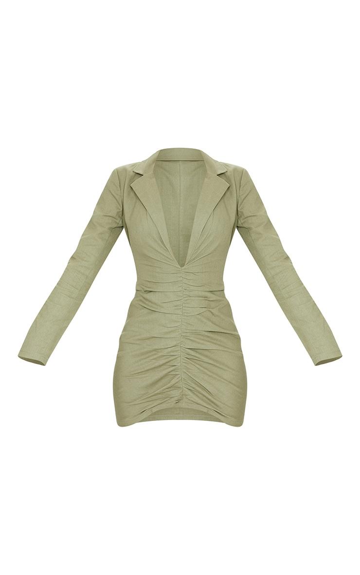 Khaki Plunge Ruched Front Blazer Dress 5