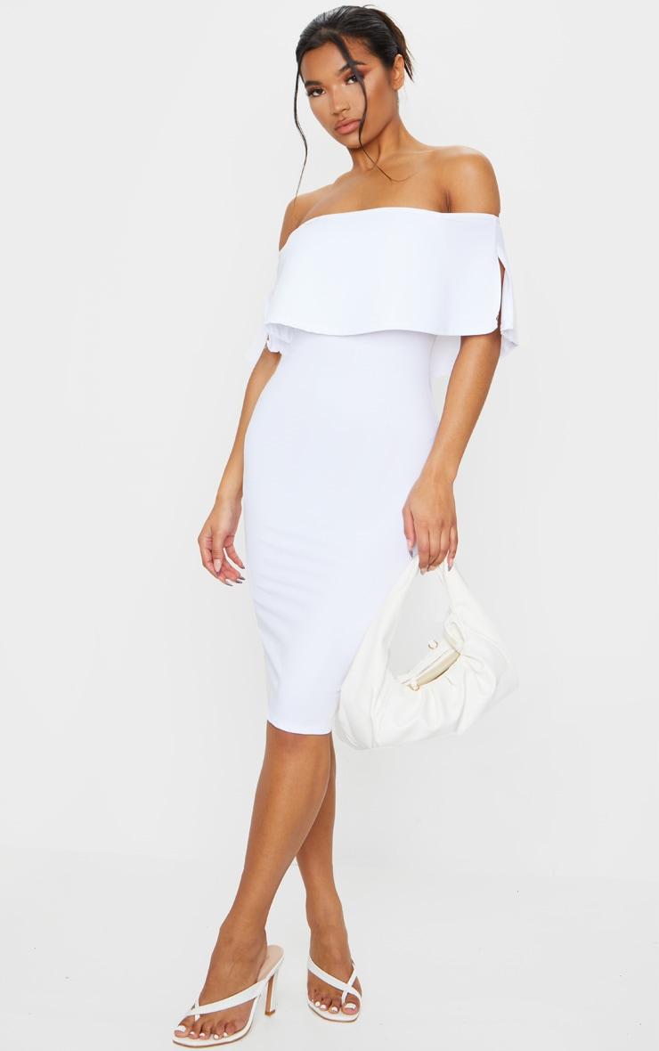 White Bardot Frill Midi Dress 1