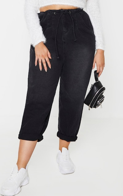 Plus Black High Waist Balloon Jean