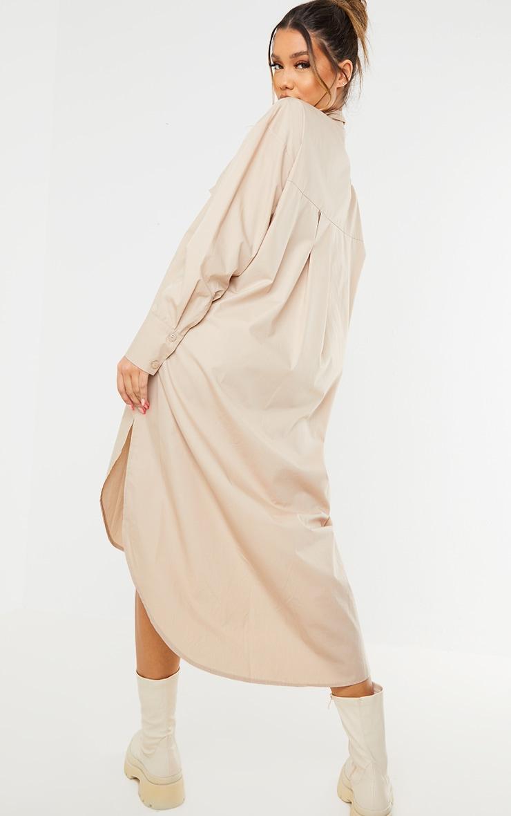 Stone Deep Pocket Drop Hem Midi Shirt Dress 1