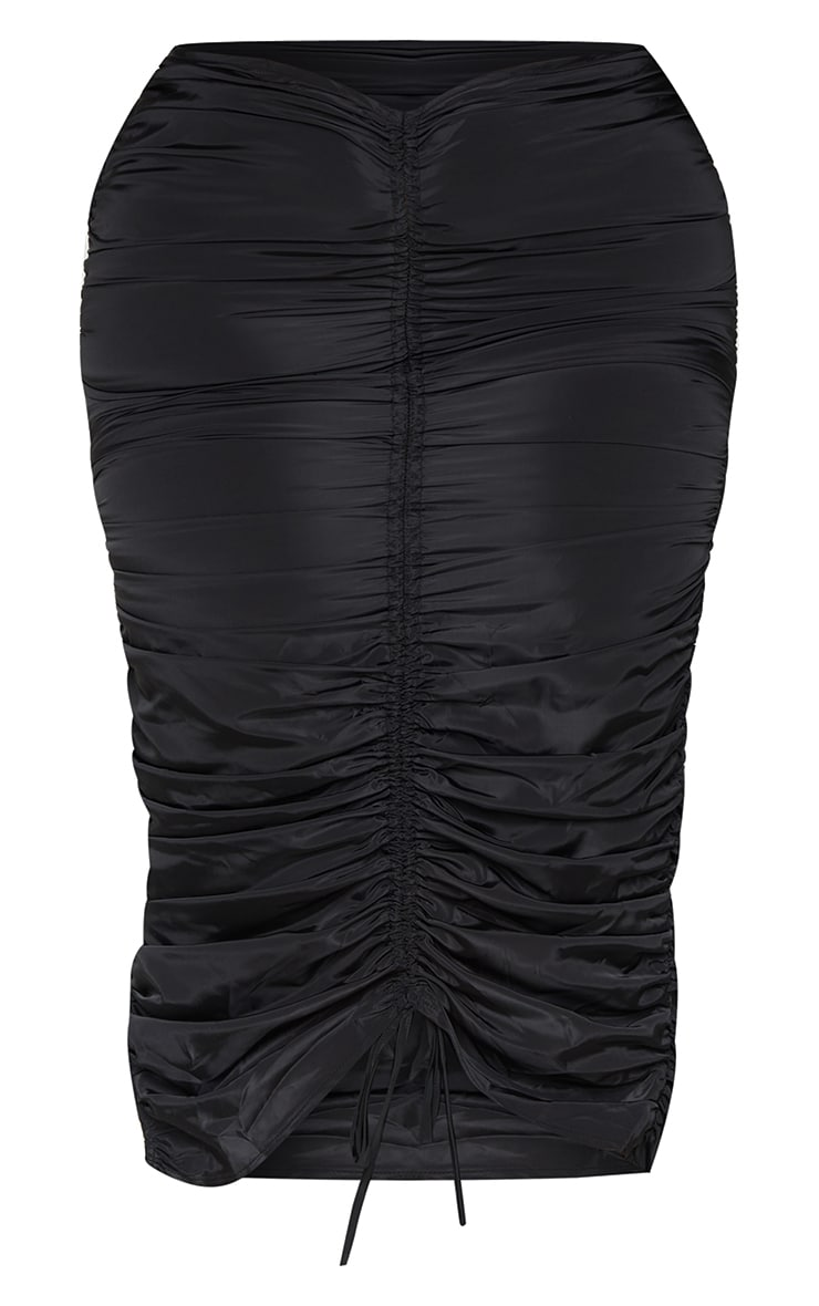 Plus Black Shell Ruched Front Midi Skirt 5