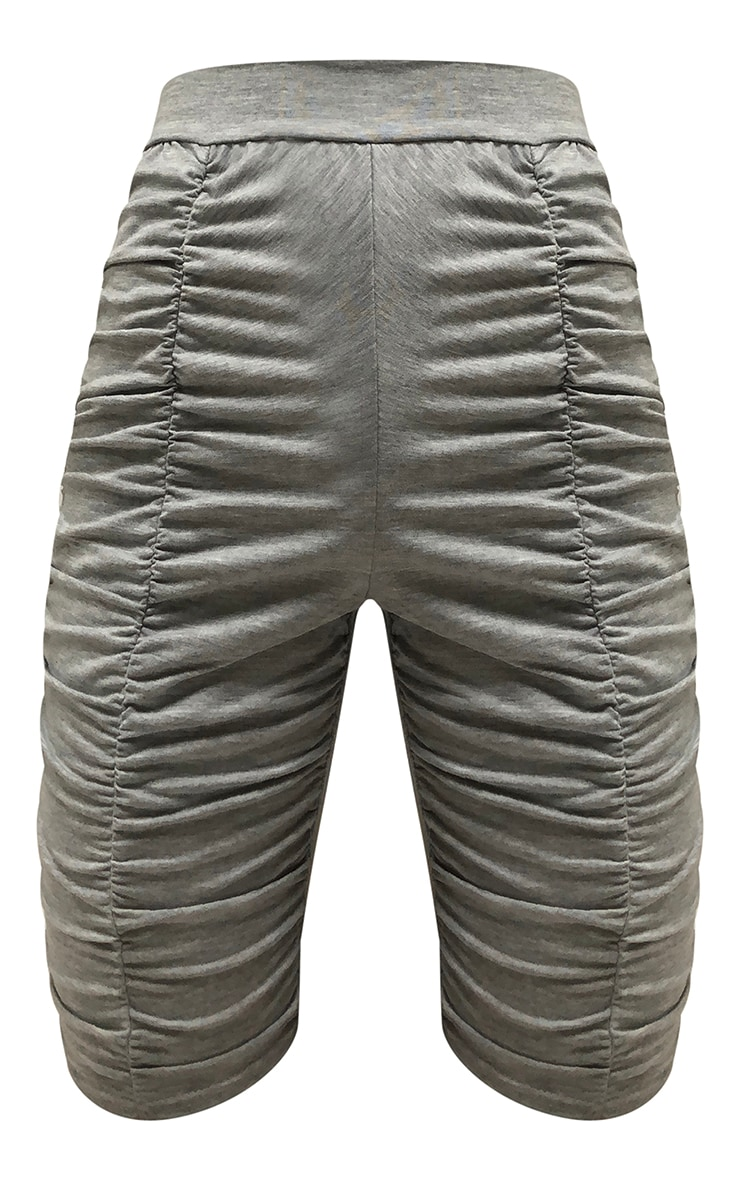 Grey Marl Jersey Ruched Bike Shorts 6