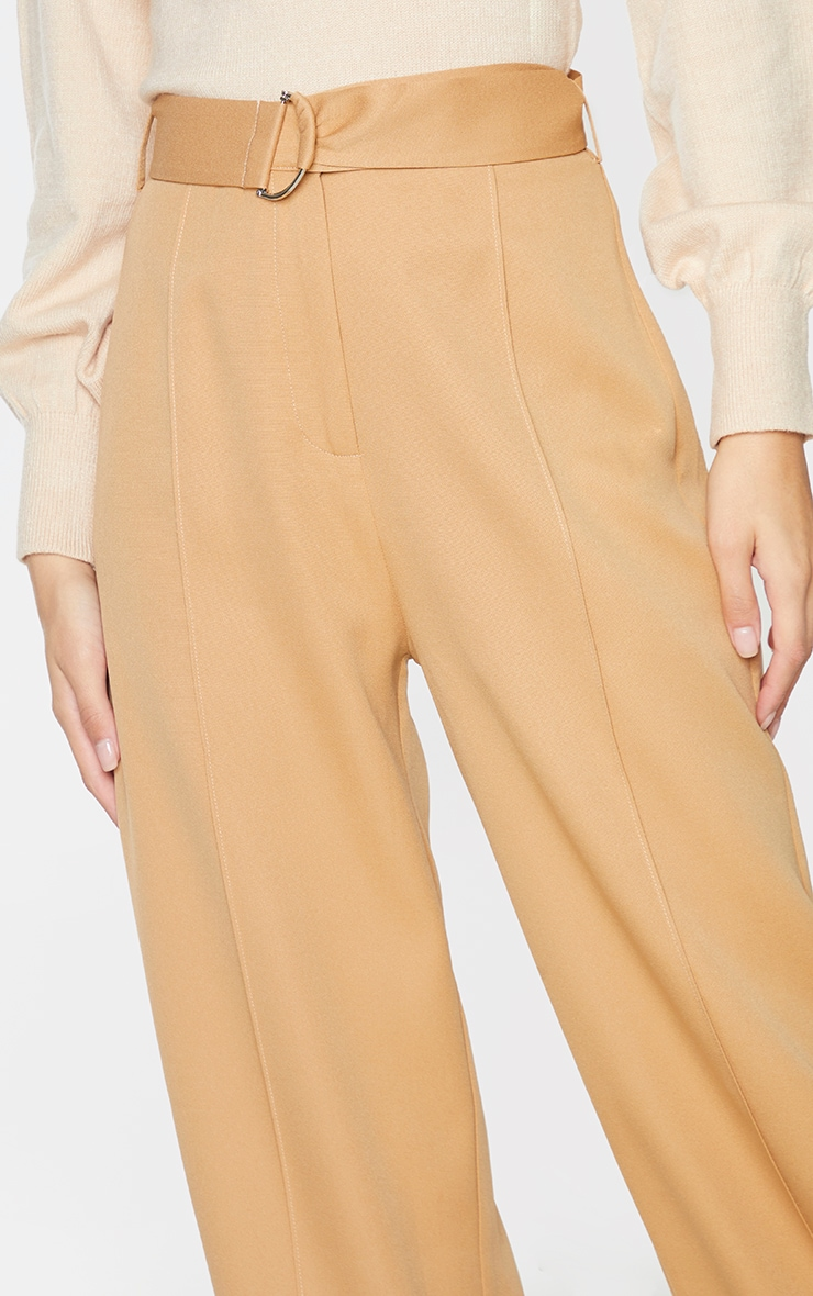 Camel D Ring Woven Belted Straight Leg Pants 4