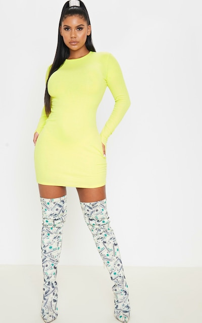 c9721434447 Neon Lime Long Sleeve Thumb Hole Bodycon Dress
