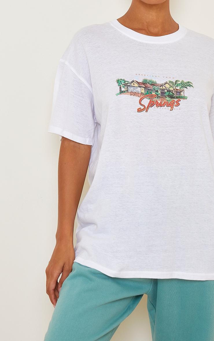 White Palm Springs Printed T Shirt 4