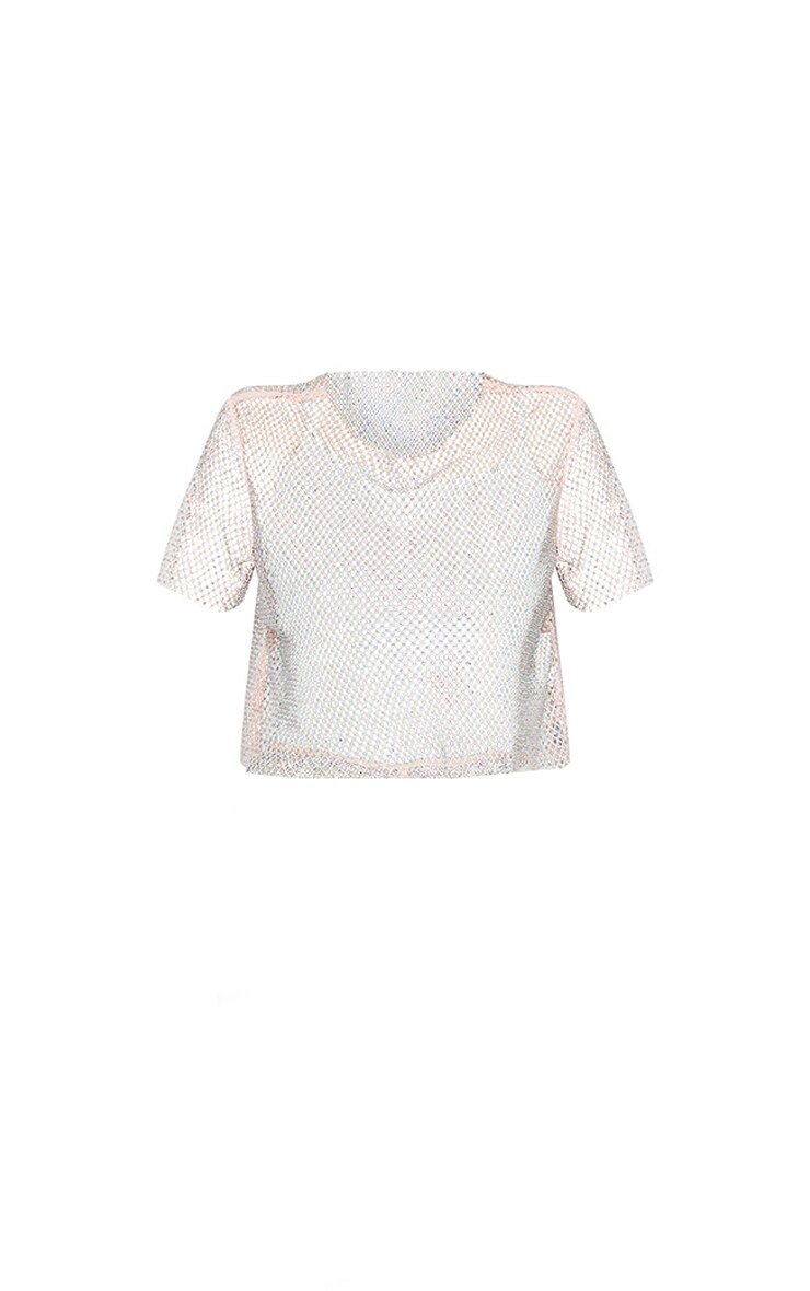 Baby Pink Diamante Fishnet T-Shirt 6