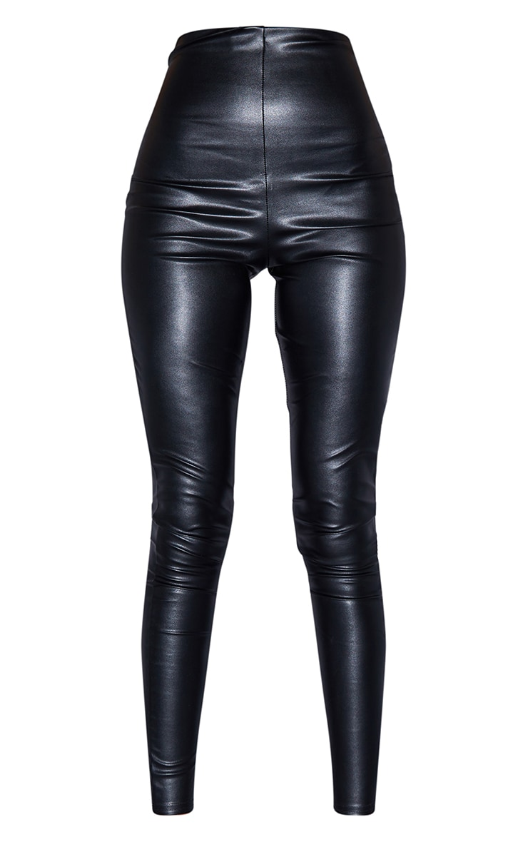 Tall Black Faux Leather High Waisted Legging 5