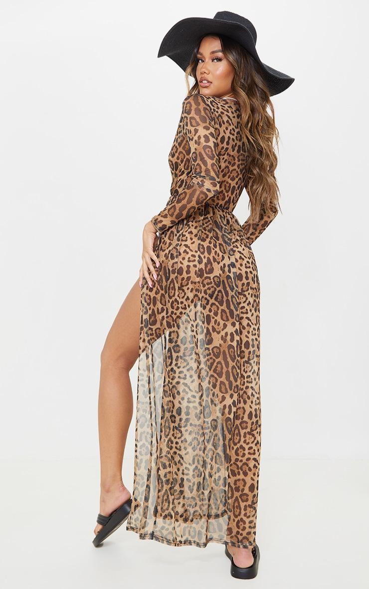 Brown Leopard Print Sheer Mesh Plunge Long Sleeve Split Maxi Dress 2