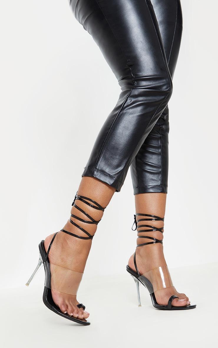 Black Clear Heel Toe Loop Ankle Tie Sandal  2