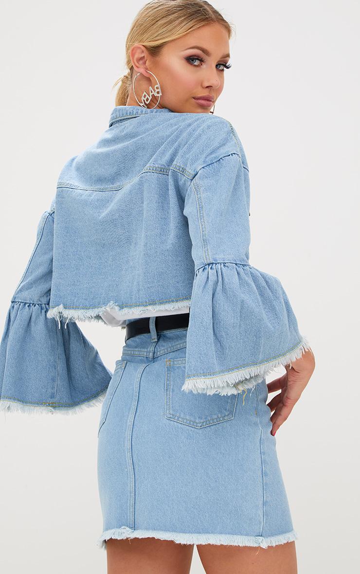 Light Wash Flare Sleeved Cropped Denim Jacket 2