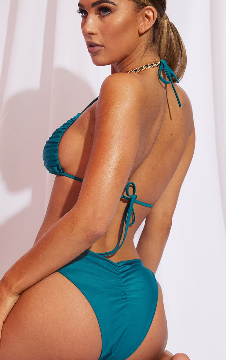 Teal Ruched Front & Back Bikini Bottom 5