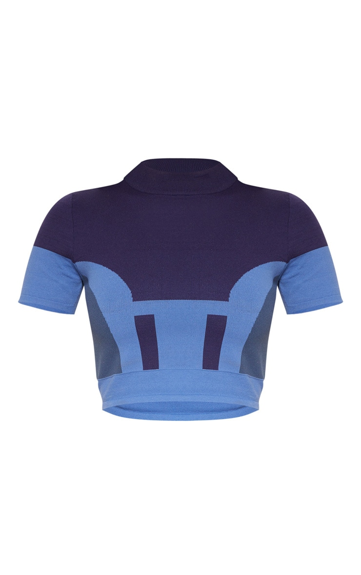 Blue Seamless Knit Short Sleeve Gym Top 3