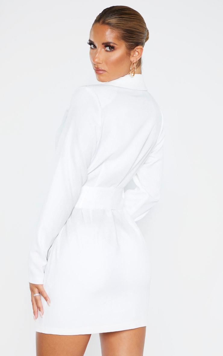 White Ring Belt Blazer Style Dress 2