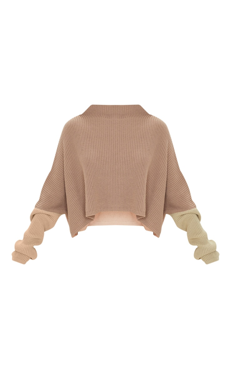 Stone Oversized Colour Block Sweater 3